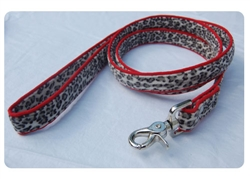 Slate Leopard on Red Lead w/nickel snap swivel clip