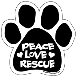 Peace Love Rescue Paw Magnets