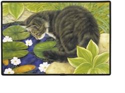 Cat on Fish Pond Doormat