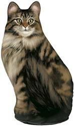 Long-Haired Tabby Cat Doorstop