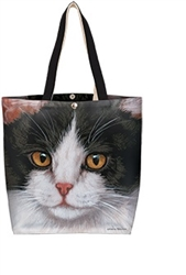 Black & White Cat Oil Cloth Tote