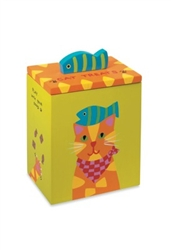 Hand Painted Collection - Orange Yellow Cat Treat Box