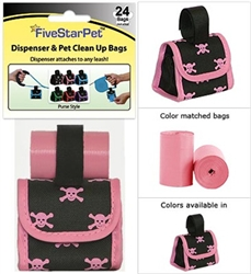 Pink Skull & Pink Trim X-Bones Patented Purse Dispensers