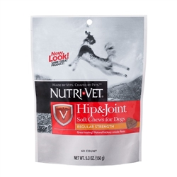 Nutri-Vet Hip & Joint Regular Strength Soft Chews - 250mg GS, 200mg CS, 40mg Vit C - 5.3 oz.