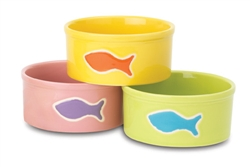 "Teeny Tiny Fish Water Bowl 5"" Assorted 3 colors, 2 Cups"