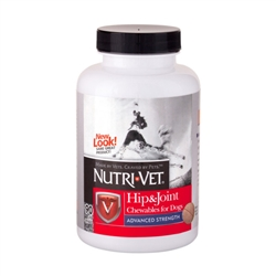 Nutri-Vet Hip & Joint Advanced Strength Chewables - 500mg GS, 400mg CS, 50mg MSM, 6mg HA - 90 ct.