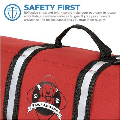 Dog Life Jacket - Paws Aboard Red Neoprene Pet Life Vest   