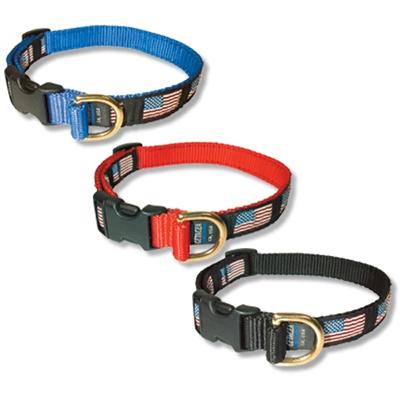"Medium American Flag Collar, Quick Release Buckle 3/4""W x 12-19"""