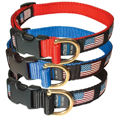 "Large American Flag Collar, Quick Release Buckle 1""W x 15-25"""