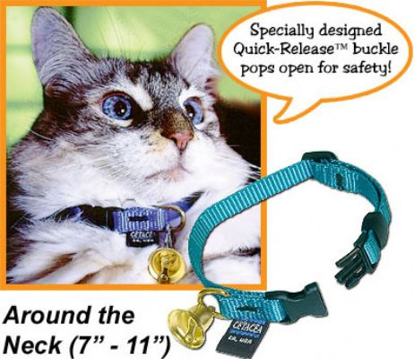 """Safety """"Pull Apart"""" cat collar 7""""-11"""" with a Liberty Bell"""