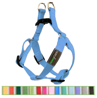 Sky Blue Solid Nylon Webbing Dog Harness