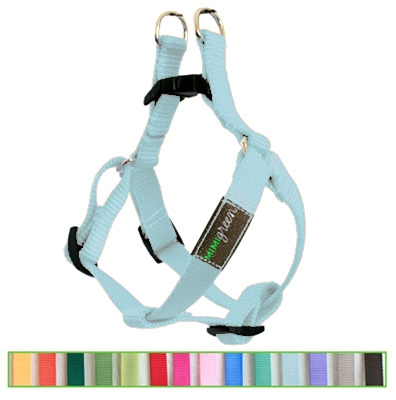 Dolphin Blue Solid Nylon Webbing Dog Harness