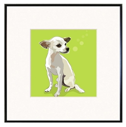 "Chihuahua White: Limited Edition Print in 8""x8"" fineline frame"