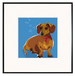 "Dachshund - #2: Limited Edition Print in 8""x8"" fineline frame"