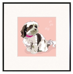 "Havanese - Brown & White: 8x8"" fineline framed print, limited edition"