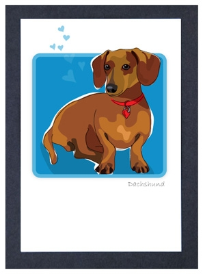 Dachshund - #2 - Grrreen Boxed Note Cards
