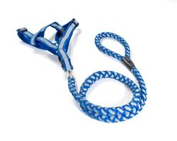 FabuLeash Dog Leash & A Step In Harness - Braided Lumi Set - Blue