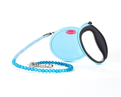 FabuLeash Beaded Retractable Dog Leash - Blue
