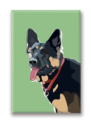 German Shepherd Smiling - Fridge Magnet