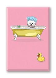 Bichon in Bath Tub - Fridge Magnet