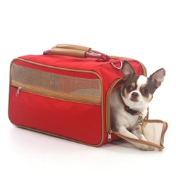 Bark-n-Bag Nylon Classic Pet Carrier - Red Nylon/Tan Trim