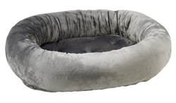 Donut Bed Grey Teddy Faux Fur