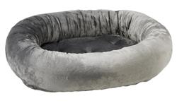 Donut Bed Grey Teddy Faux Fur
