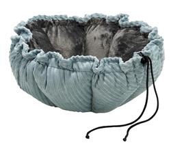 Buttercup Bed Blue Bayou Microcord (Grey Teddy Faux Fur)