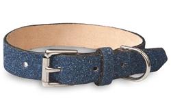 Blue Glitterati - Genuine Leather Collar and Lead