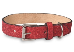 Red Glitterati - Genuine Leather Collar and Lead