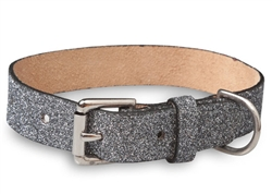 Silver Glitterati - Genuine Leather Collar and Lead