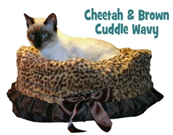 Cheetah Print & Brown Reversible Snuggle Bug w/ Black ruffle trim