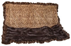 Cheetah Print & Brown with Brown wavy ruffle trim - SleepyTime Cuddle Blanket