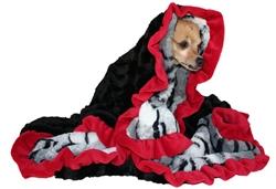 White Siberian Tiger Print & Black with  Red Wavy Ruffle Trim - SleepyTime Cuddle Blanket