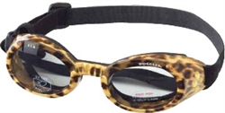 Leopard Print Frame ILS Doggles with Light Smoke Lens; XS & SM w/Mirror Green Lens