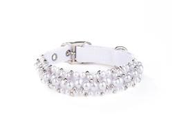 Fabuleash Beaded Dog Collar - FabuCollar - Pearl White
