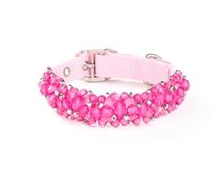 Fabuleash Beaded Dog Collar - FabuCollar - Fuchsia Pink