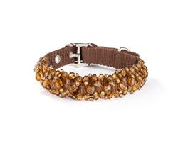 Fabuleash Beaded Dog Collar - FabuCollar - Smoked Topaz