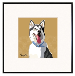"Alaskan Malamute - Limited Edition Print in 8""x8"" fineline frame"