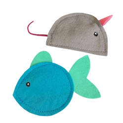 Wool Felt Catnip Toys (Mouse and Fish)