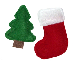 Wool Felt Catnip Toys - Holiday tree and stocking