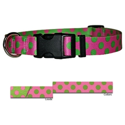 Pink-Green Polka Collection with Contrasting Lead