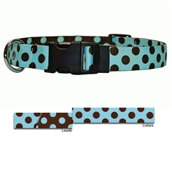 Blue-Brown Polka Collection with Contrasting Lead