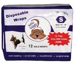 Wiki Wags™ Brand - Male Dog Disposable Wraps SM 12 Pack