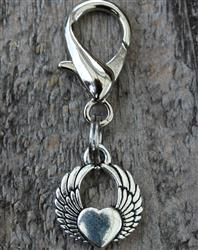 Winged Heart Dog Collar Charm