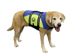 Dog Life Jacket - Paws Aboard BLUE/YELLOW Neoprene Pet Life Vest - Dog Preserver