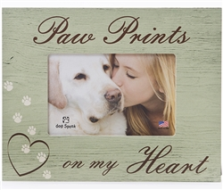 "Paw Prints on my Heart 7.5"" x 9.5"" Picture Frame"