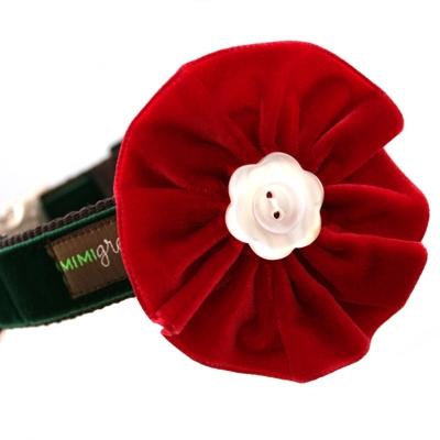 Holly Red Velvet Dog Collar Flower