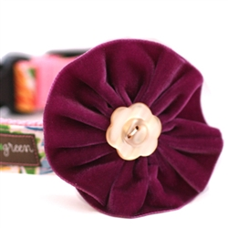 Olive Velvet Dog Collar Flower