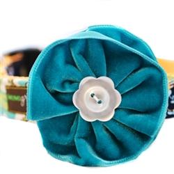 Zack Blue Velvet Dog Collar Flower